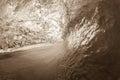 Ocean wave crashing sepia vintage curling lip in contrast Stock Photo