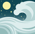 Ocean wave illustration of a giant tsunami or tidal in the against a night sky with stars and a full moon Stock Photography