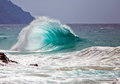 Ocean wave surf break unusual breaking onshore in hawaii usa Stock Photos
