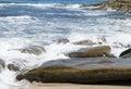 Ocean waves on rocky shoreline Royalty Free Stock Photo