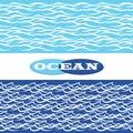Ocean waves seamless borders