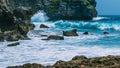 Ocean Waves on Tembeling Coastline at Nusa Penida island, Bali Indonesia Royalty Free Stock Photo