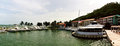 Oceanfront bar boast docked by an in la marina in el conquistador Stock Image