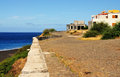 Oceanfront development the developing waterfront of sao filipe fogo cabo verde with it s cobblestone road which intertwines over Stock Photos