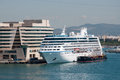 Oceania insigna cruise ship docked in port of barcelona spain Royalty Free Stock Image