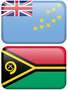 Oceanian Flag Buttons: Tuvalu, Vanuatu Stock Photo
