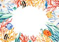 Oceanic watercolor frame border with cute turtle,seaweed,coral reef,fishes,seahorse