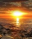 Oceano e por do sol Fotografia de Stock