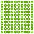 100 oceanology icons hexagon green
