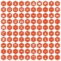 100 oceanology icons hexagon orange