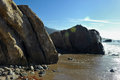 Oceanside beach and rocks at leo carill near malibu in california usa Royalty Free Stock Images