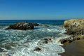 Oceanside beach and rocks at leo carill near malibu in california usa Royalty Free Stock Photos