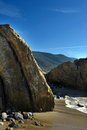 Oceanside beach and rocks at leo carill near malibu in california usa Stock Photos