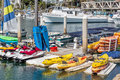 Oceanside harbor kayaks and many boats for rent in the southern california Royalty Free Stock Image