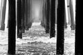 Oceanside pier the california in a heavy fog Royalty Free Stock Image