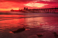 Oceanside pier this image is of the california at sunset is located about miles north of san diego Royalty Free Stock Photography