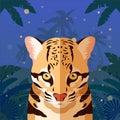 Ocelot on the Jungle Background