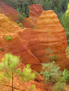 Ochre cliffs in Roussillon, France Stock Images