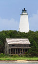 Ocracoke light and beach house the lighthouse a with shake siding are viewed from the water off island part of north carolina s Stock Photo