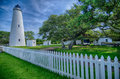 The Ocracoke Lighthouse and Keeper's Dwelling on Ocracoke Island Royalty Free Stock Photo