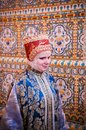 Woman in traditional Russian dress Royalty Free Stock Photo