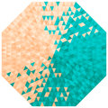 Octagon with triangles in turquoise and beige colors Royalty Free Stock Photos