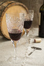 Octave and two wineglasses are on sacking old Royalty Free Stock Images