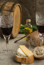 Octave wineglass bread and cheese are on sacking vegetable oil Stock Photo