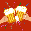 October Beer Festival. Two hands holding beer mugs. Vector Royalty Free Stock Photo