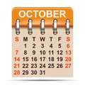 October calendar of 2018 year - vector