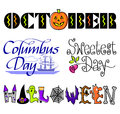 October Events Clip Art Set/eps Royalty Free Stock Photo