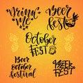 October Fest calligraphic set. Beer fest. Drink me. Handwritten lettering for holiday decoration