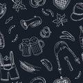 October fest doodle seamless pattern. Vintage illustration