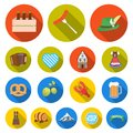 October festival in Munich flat icons in set collection for design.Tradition and fun vector symbol stock web