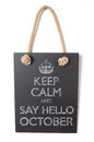 October keep calm and say hello to Stock Photo