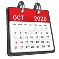 October 2020 monthly calendar vector illustration Royalty Free Stock Photo