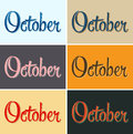 October vector sign lettering in several color combinations Royalty Free Stock Photography