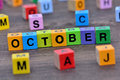 October word on table Royalty Free Stock Photo
