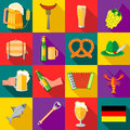 Octoberfest icons set, flat style