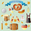 Octoberfest set of vector subjects for Royalty Free Stock Photos