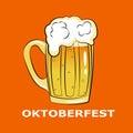 Octoberfest symbol on orange background. Royalty Free Stock Photo
