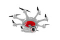 Octocopter with camera on white background. Isolated 3d illustra
