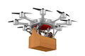 Octocopter with toolbox on white background. Isolated 3d illustr