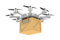 Octocopter with wooden box on white background. Isolated 3d illu