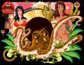 Octopus with afro and girls at back Royalty Free Stock Photography