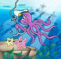 Octopus with anchor and starfishes Royalty Free Stock Photos