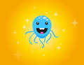 Octopus blue funny on the yellow background Royalty Free Stock Images