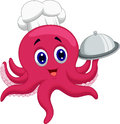 Octopus chef cartoon holding platters Royalty Free Stock Photo