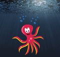 Octopus in the depth cartoon pink lady with bubbles dark blue Royalty Free Stock Photo