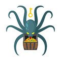 Octopus guarding pirate treasures . Gold chest kraken. Cthulhu a Royalty Free Stock Photo